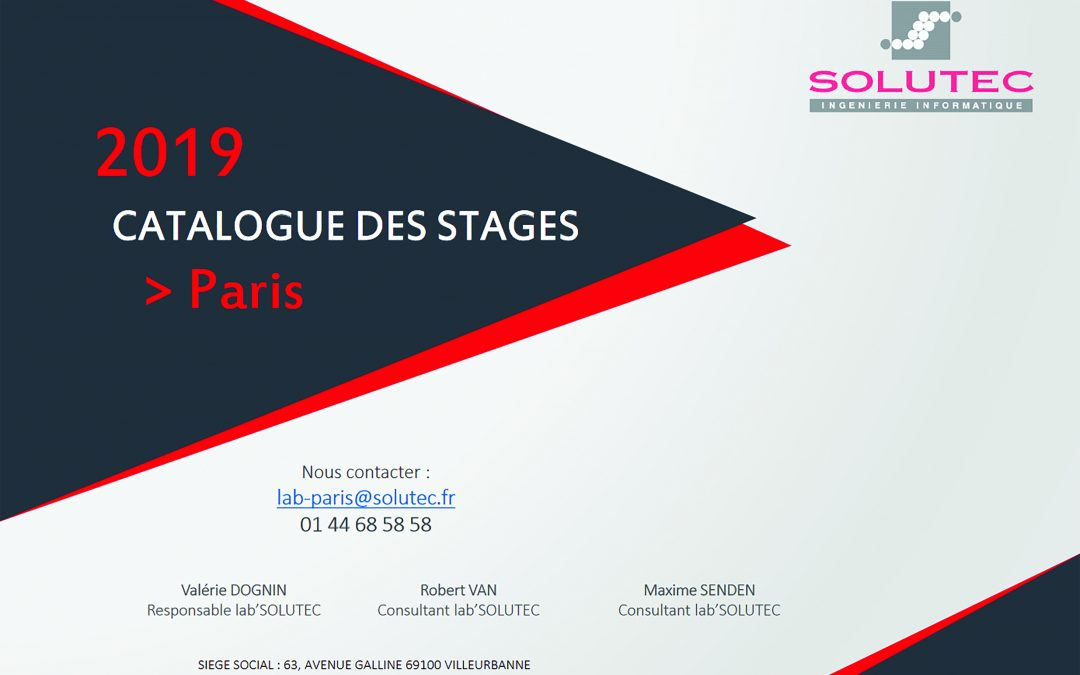 Catalogue des stages 2019 SOLUTEC